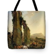 Peasants With Cattle By A Ruined Aqueduct Tote Bag