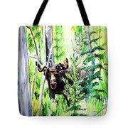 Peek A Boo Moose Tote Bag