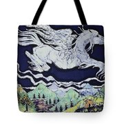 Pegasus Flying Over Stream Tote Bag
