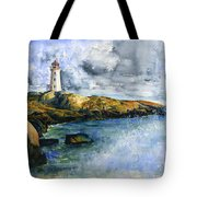 Peggy's Cove Lighthouse Landscape Tote Bag