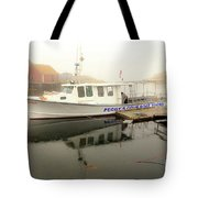 Peggy's Cove Tours Boat In The Rain Tote Bag