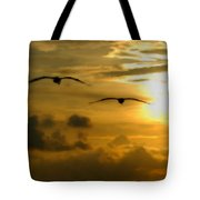 Pelican Flight Into The Clouds Tote Bag