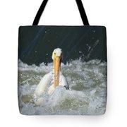 Pelican In Rough Water Tote Bag