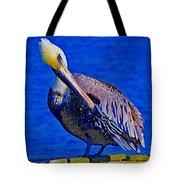Pelican On Dock Looking Down Tote Bag