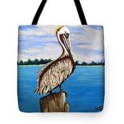 Pelican On Post 2 Tote Bag