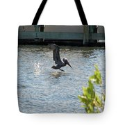 Pelican On The Waves Tote Bag