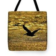 Pelican Silhouette - Golden Gulf Tote Bag