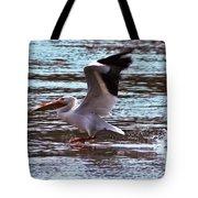 Pelican Skimming The Rock River Tote Bag