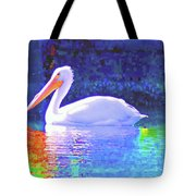 Pelican With Blue Tote Bag