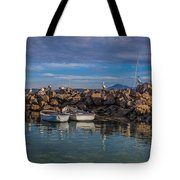 Pelicans At Eden Wharf Tote Bag