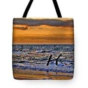 Pelicans Crusing The Coast Tote Bag