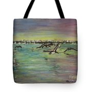 Pelicans Fly Tote Bag