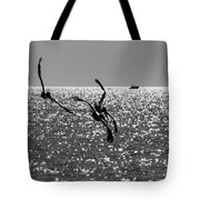 Pelicans Flying By - Black And White Tote Bag