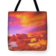 Pelicans Flying Into Sunset  Tote Bag
