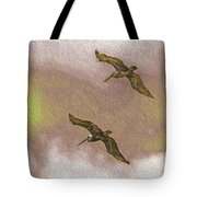 Pelicans On Cave Wall Tote Bag