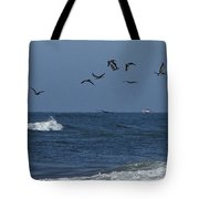 Pelicans Over The Atlantic Tote Bag