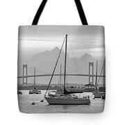 Pell Bridge Newport Harbor Newport Ri Rhode Island Purple Sunset Black And White Tote Bag