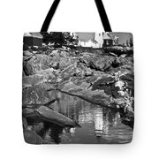 Pemaquid Point Lighthouse Maine Black And White Tote Bag
