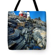 Pemaquid Point Lighthouse Reflection - Seascape Landscape Rocky Coast Maine Tote Bag
