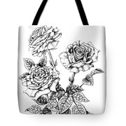 Pen And Ink Roses Tote Bag
