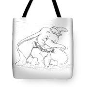Pencil Drawing Of Walt Disney's Dumbo Tote Bag