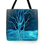 Pencil Sketch Of A Tree And Hills In Abstract Tote Bag