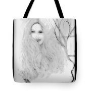 Pencil Sketch Of Blonde Hair Girl Tote Bag