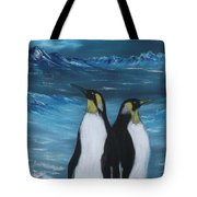 Penguin Family Expectant Again Tote Bag by Cynthia Adams