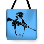 Penguin Soldier Tote Bag by Pixel Chimp