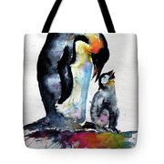 Penguin With Baby Tote Bag