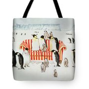 Penguins On A Red And White Sofa  Tote Bag by EB Watts