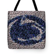 Penn State Bottle Cap Mosaic Tote Bag by Paul Van Scott