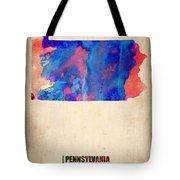 Pennsylvania Watercolor Map Tote Bag by Naxart Studio