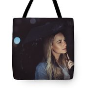 Pensive Woman Outdoors In Rainy Night Tote Bag