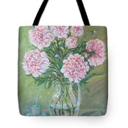 Peonies With A Cup Of Coffee, Some Cherries And A Lovenote Tote Bag