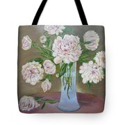 Peonies Bouquet In An Elegant Bowl On A Round Table Tote Bag