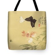 Peonies And Butterflies Tote Bag