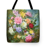 Peonies And Mixed Flowers Tote Bag