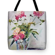 Peonies In Crystal Vase Tote Bag