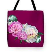 Peonies In Pink And Blue Tote Bag