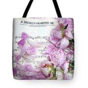 Peonies On Music Sheet - Pink Peonies Shabby Chic Inspirational Print - Peony Home Decor Tote Bag