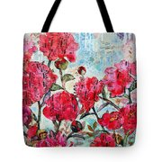 Peony Art Mixed Media Collage Art Floral Print Fine Art Print Peony Polka Tote Bag