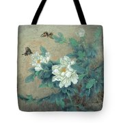 Peony Butterfly Tote Bag