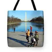 People At The Reflecting Pool Tote Bag