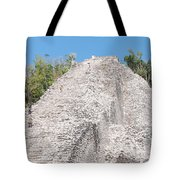 People Climbing Nohoch Mul At The Coba Ruins Tote Bag