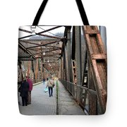 People Crossing Old Yugoslav Weathered Metal Bridge Crossing In Bosnia Hercegovina Tote Bag