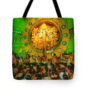People Enjoying Inside Durga Puja Pandal Durga Puja Festival Tote Bag