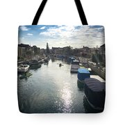 People Kayaking Through Naples Canals In Long Beach, Ca Tote Bag