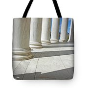 A Man Leaning On A Column Tote Bag