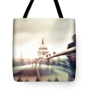 People On Millennium Bridge In London Tote Bag